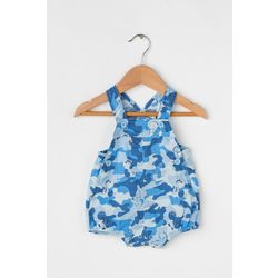 Printed short overalls