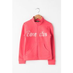 Zip-up sweatshirt with Benetton text
