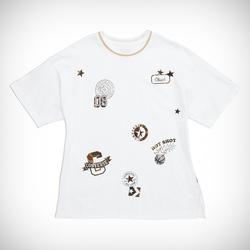 ALL OVER PATCH BOXY TEE WHITE