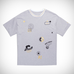 ALL OVER PATCH BOXY TEE LT GREY HEATHER