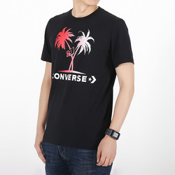 PALM TREES AND HOOPS TEE BLACK