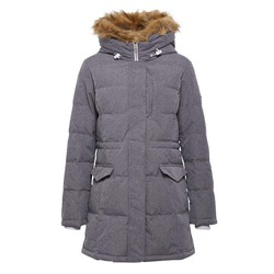 HOODED DOWN MID LENGTH JACKET PALE PUTTY