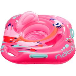 Baby Seat Swim Ring with Window and Handles - Flamingo