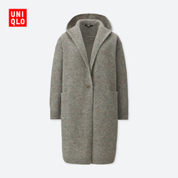 Women Wool Hooded Knit Coat (Long Sleeve)