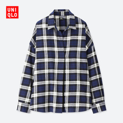 Women Flannel Plaid Half Open Collar Top (Long Sleeve)