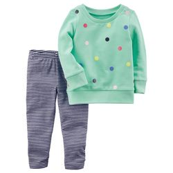 2-Piece French Terry Top & Striped Legging Set