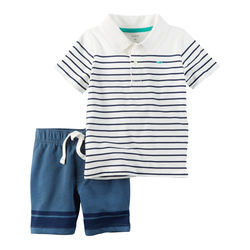 2-Piece Striped Polo & French Terry Short Set