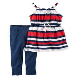 2-Piece Striped Tunic & Pant Set