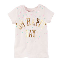Foil-Print Oh Happy Day Graphic Tee