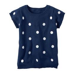 Short-Sleeve Polka Dot Sweater